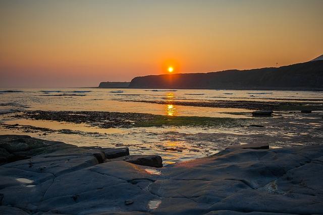 Jurassic Coast, England, Sunset, Ocean, Dorset