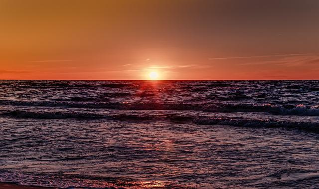 Sunset, Sea, Red Sky, Orange, The Waves, Ocean, Evening