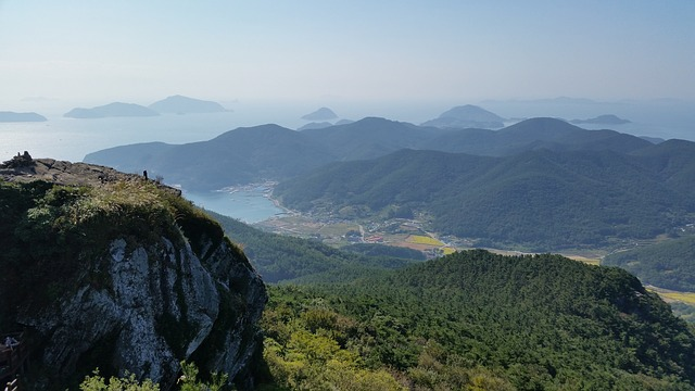 Korea, Tongyeong, Landscape, Lake, Sea, Ocean, Forest