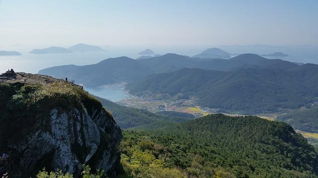 Korea, Tongyeong, Landscape, Lake, Sea, Ocean, Forest