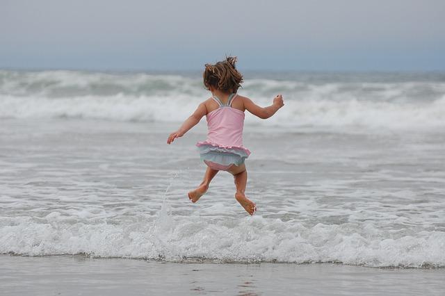 Girl, Beach, Ocean, Waves, Jumping, Bathing Suit