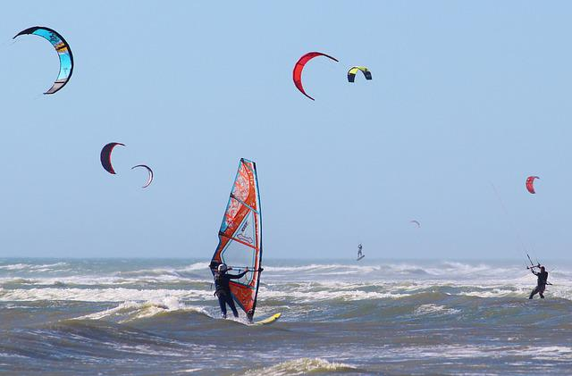 Water Sports, Kiting, Windsurfing, Ocean, Sea, Beach