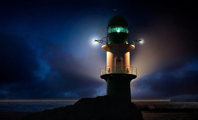 Lighthouse, Beacon, Ocean, Abendstimmung, Horizon