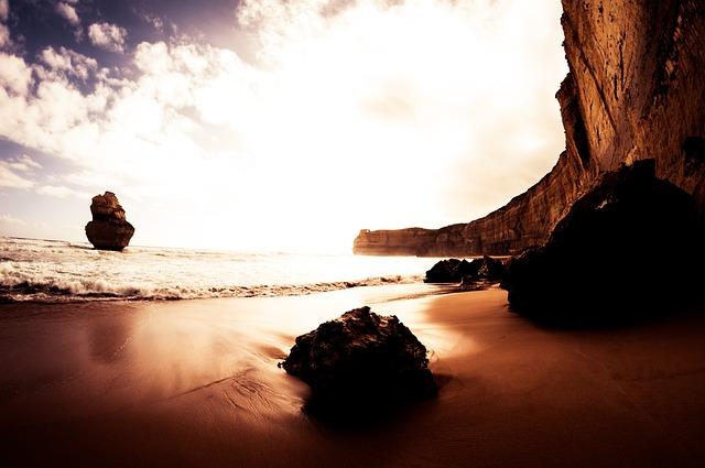 Beach, Boulder, Dawn, Dusk, Landscape, Motion, Ocean