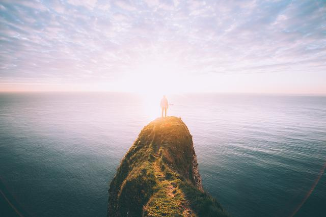 Cliff, Coast, Man, Nature, Ocean, Person, Sea, Sky