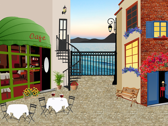 Restaurant, House, Terrace, Table, Tablecloth, Ocean