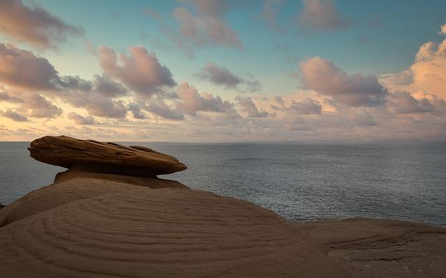 Rock, Beach, Ocean, Coast, Sky, Rocks, Nature