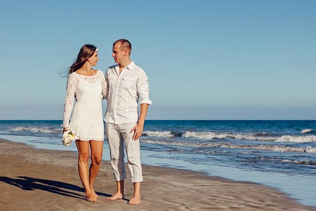 Wedding, Beach, Love, Young Couple, Romantic, Ocean
