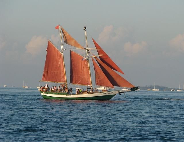 Free photo Mist Sea Schooner Sailing Vessel 3-mast Ship