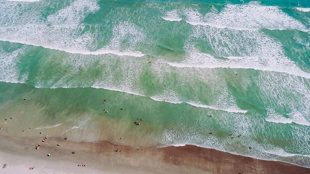 Drone View, Aerial View, Sea, Ocean, Wave, Beach, Shore