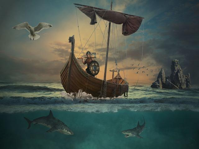 Waters, Ocean, Sea, Vikings, Island, Boot, Water, Ship