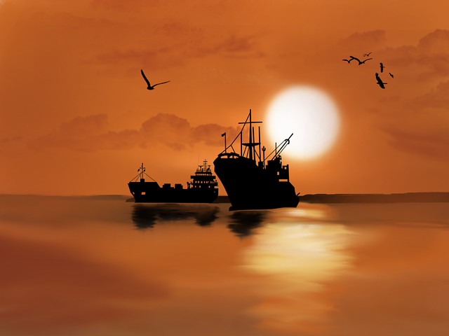 Digital Art, Artwork, Ship, Boats, Sea, Ocean, Birds