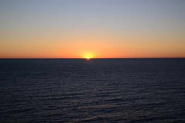 Sunrise, Cloudless, Ocean, Orange, Dawn, Sky, Blue