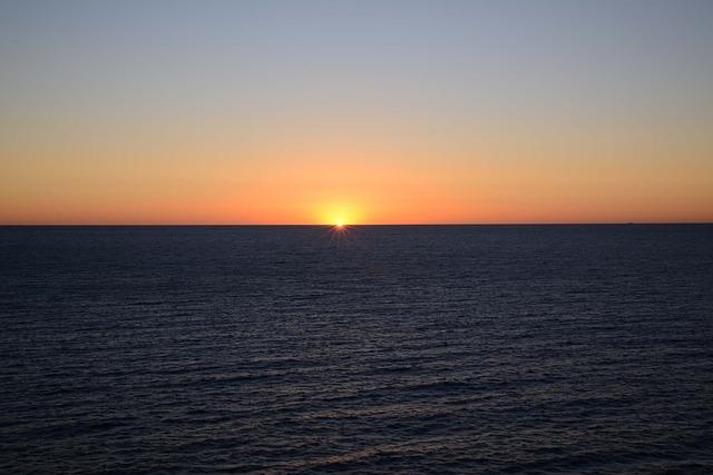 Sunrise, Cloudless, Ocean, Orange, Dawn, Sky, Blue