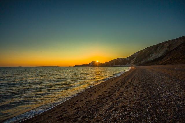 Worbarrow Bay, Ocean, Sunset