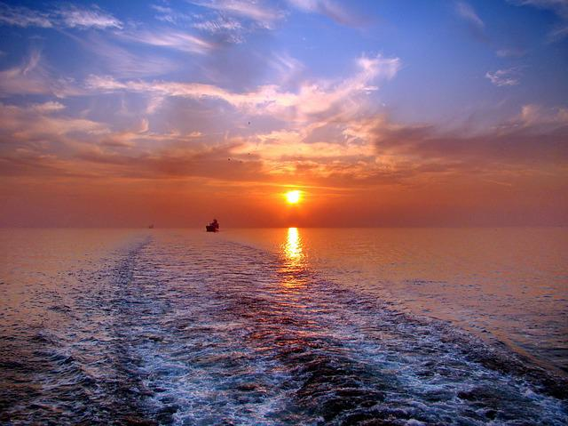 Sunset, Atlantic, The Wake, To The East, Ocean, Sun