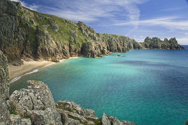 Beach, Cliffs, Sea, Ocean, Turquoise, Blue, Landscape