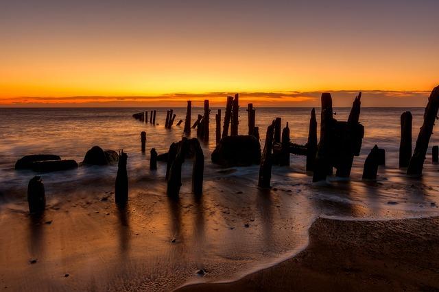 Waves, Wooden Poles, Ocean, Beach, Sunrise, Sunlight