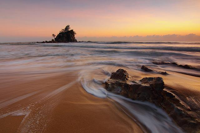 Beach, Sunset, Sea, Rock Formations, Waves, Ocean Waves