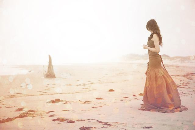 Woman, Beach, Mirage, Sea, Girl, Ocean, Driftwood