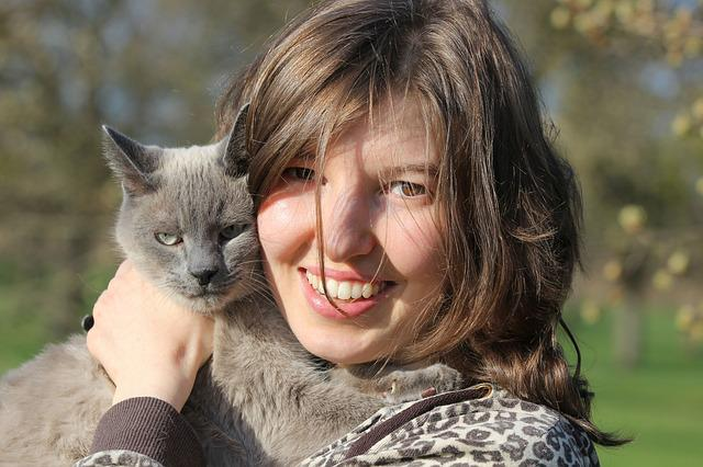 Portrait, Young Woman, Cat, Of Course, Face, Human