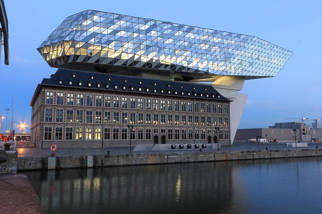 Belgium, Antwerp, Office, Building, Harbor, Havenhuis