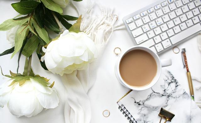 Desktop, Computer, Coffee, Flower, Office, Design
