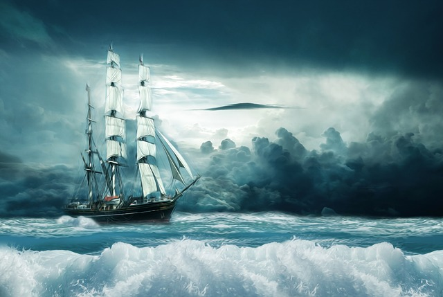Ship, Boot, Ocean, Forward, Sail, Adventure, Oil, Color