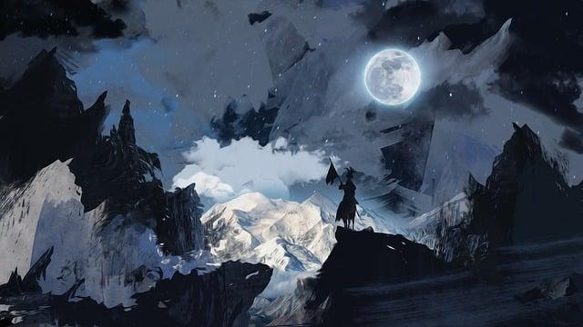 Painting, Knight, Night, Oil Paints, Fantasy, Moon