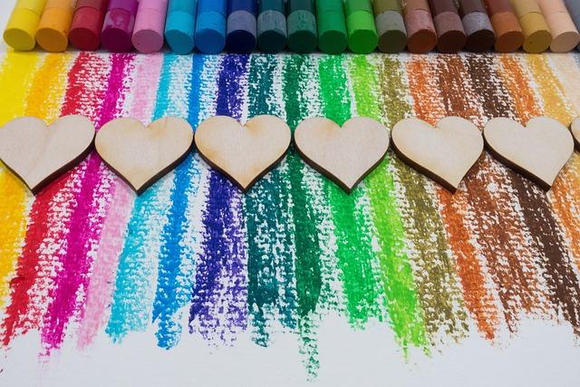 Color, Oil Pastels, Colorful, Heart, Laser Cut, Wood