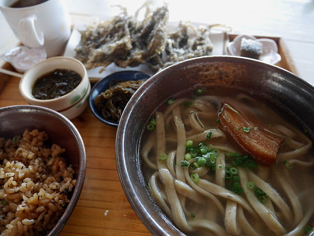 Okinawa Soba, Mozuku Seaweed Near, Okinawan Cuisine