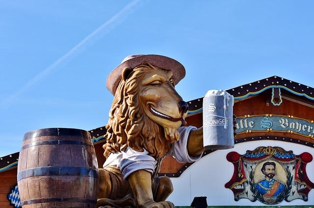 Lion, Figure, Beer Mug, Barrel, Oktoberfest, Beer Tent