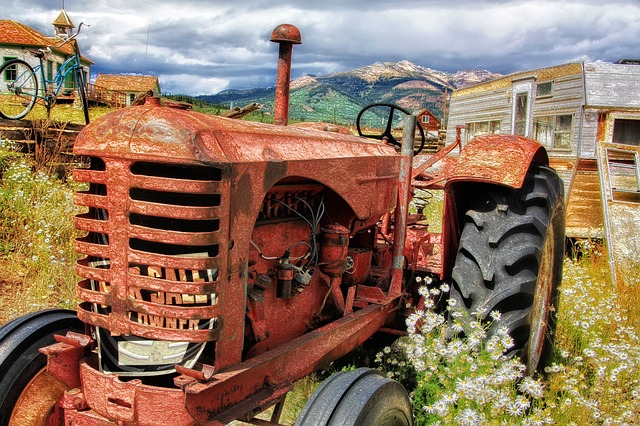 Tractor, Old, Antique, Abandoned, Agriculture, Machine