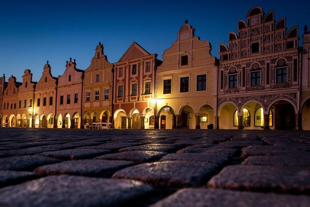 Square, Old, Night, City, Architecture, Czech Republic