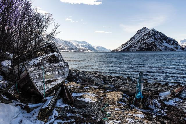 Old Boat, Shoreline, Fjord, Water, Mountain