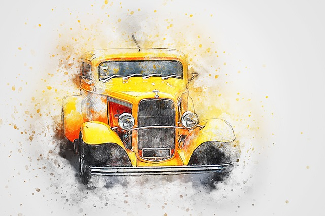 Car, Old Car, Ford, Art, Abstract, Watercolor, Vintage