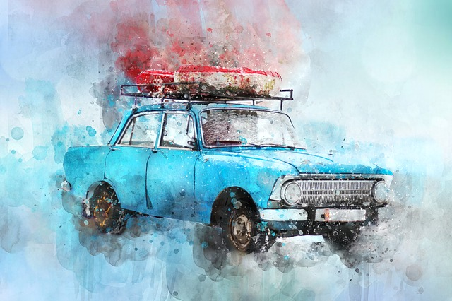Old Car, Car, Watercolor, Transportation, Vehicle