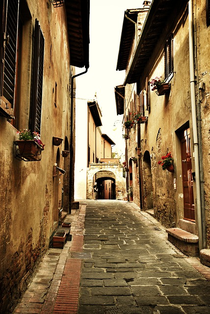Italy, Street, Cobblestone, Old Cobblestone Street