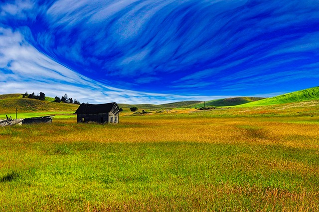 Landscape, Scenic, Meadow, Field, Barn, Old, Hills, Sky