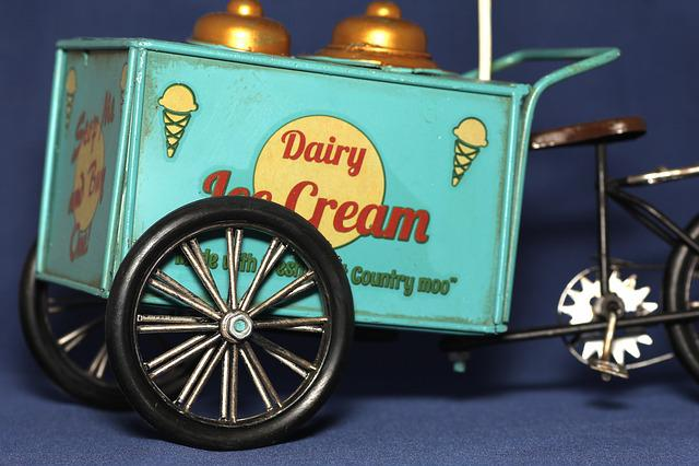 Ice Cream Truck, Deco, Bike, Old, Wheel, Retro