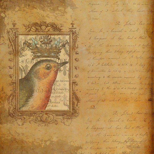 Paper, Old, Vintage, Bird, Crown, Beige, Brown, List