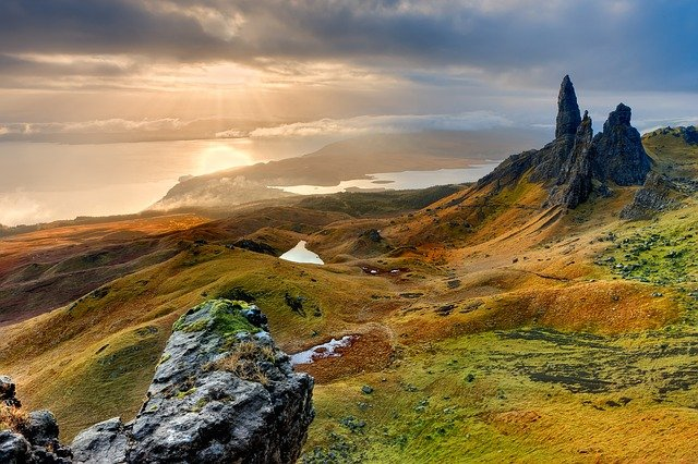 Landscape, Scotland, Isle Of Skye, Old Man Of Storr