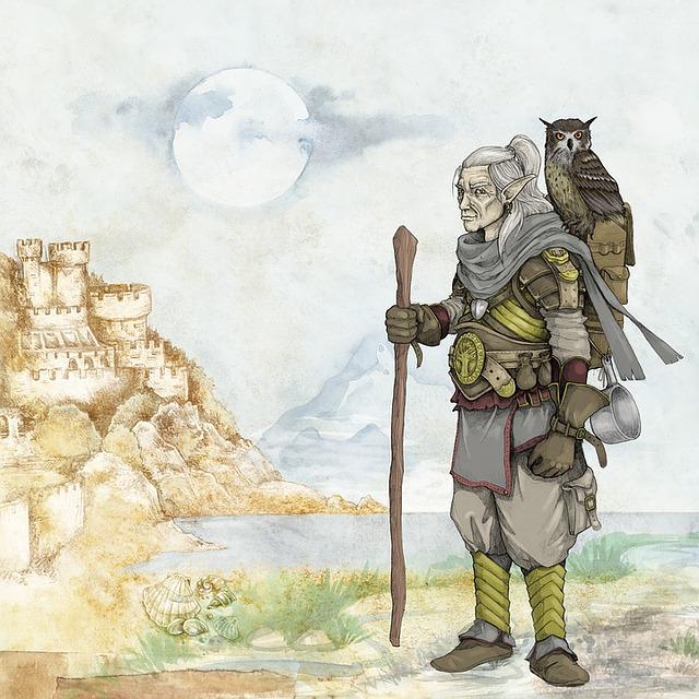 Fantasy, Fairytale, Elve, Old Man, Owl, Wanderer