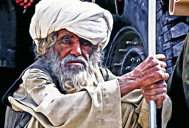 Afghanistan, Man, Old, Weathered, Staring, Wary