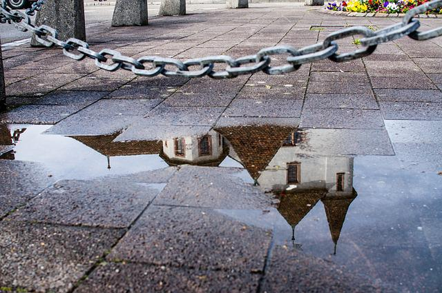Castle, Pratteln, Mirroring, Puddle, Wet, Chain, Old