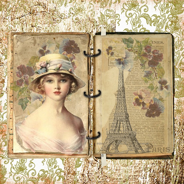 Paris, French, Vintage, Old, Lady, Flower, Hat