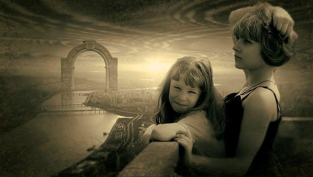 Fantasy, Girl, City, Archway, Light, Old Photo, Sepia