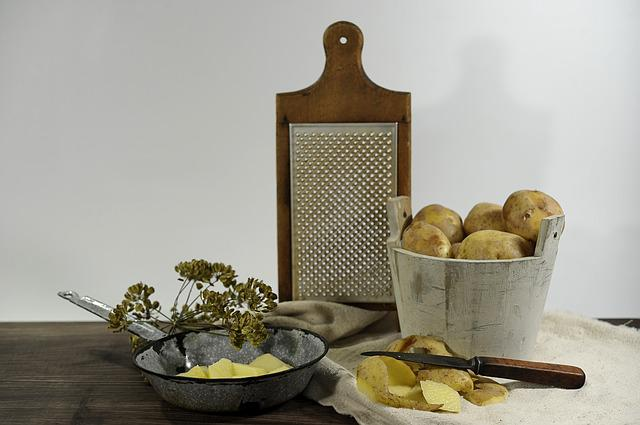Still Life, Potatoes, Grater, Pan, Knife, Old