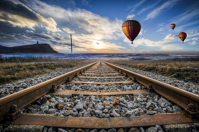 Hot-air-balloon-valley-sky, Gleise, Old, Railroad