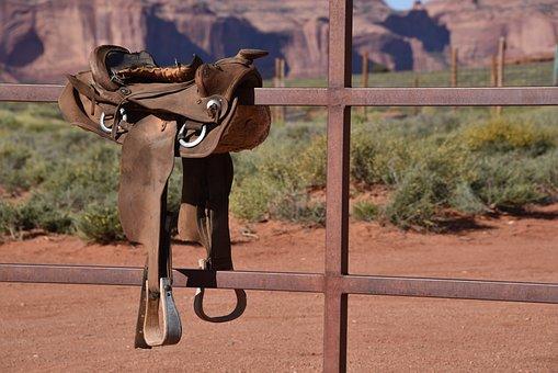 Cowboy Saddle, Saddle, Arizona, Leather, Old, Harness